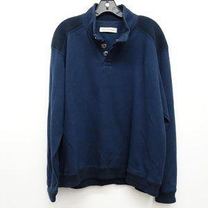 Navy Blue Cotton 1/4 Snap Shirt